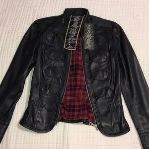 L.A.M.B. Leather Military Tab Blazer Jacket Navy